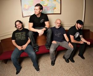 "Byzantine lineup, left to right: Matt Wolfe (drums), Sean Sydnor (bass), Chris ""OJ"" Ojeda (lead vocals, rhythm guitar), Brian Henderson (lead guitar, vocals)"