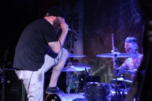 Brock Lindow (left; vocals, 36 Crazyfists) and Kyle Baltus (right; drums, 36 Crazyfists) at The Firebird - May 7, 2015 [photo by Nick Licata]