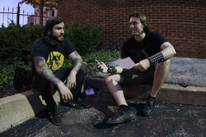 Rick Giordano (guitar, vocals) of The Lion's Daughter, with Matt Albers of Damnation Magazine, outside The Firebird in St. Louis, MO [photo by Nick Licata]