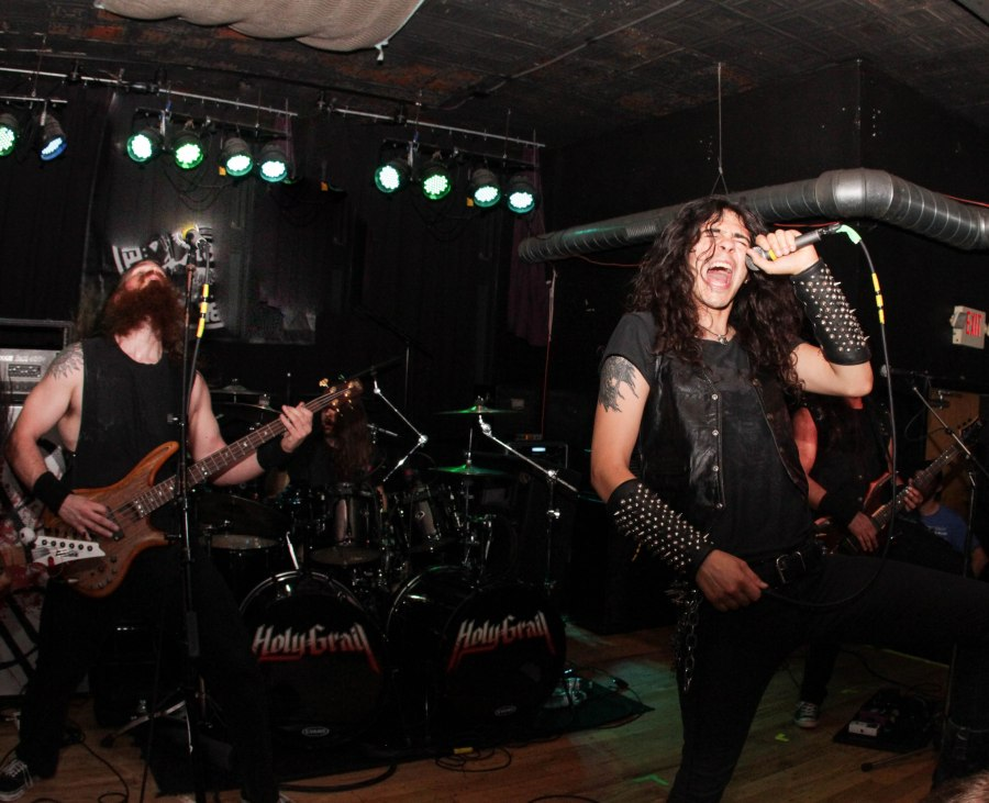 Holy Grail live at Fubar in St. Louis, MO (left to right): Blake Mount (bass),  Tyler Meahl (drums), James Paul Luna (vocals)