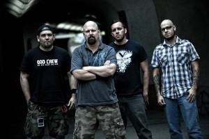 Pro-Pain band lineup (from left to right):  Jonas Sanders (drums), Gary Meskil (bass, vocals), Marshall Stephens (rhythm guitar), Adam Phillips (lead guitar, rhythm guitar) - image courtesy of Critical Outcast [criticaloutcast.com]