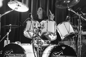 Dave Budbill (drums, Sanctuary 1985 - 1992; 2010 – present) live at Fubar on Sunday, October 11, 2015 [photo by Nick Licata]