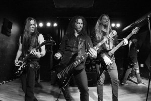 From left to right: Nick Cordle (guitars, 2015 - present; ex-Arsis, ex-Arch Enemy), Jim Sheppard (bass, 1985 - 1992, 2010 - present), Lenny Rutledge (guitars, 1985 - 1992, 2010-present; ex-Nevermore) of Sanctuary live at Fubar on Sunday, October 11, 2015 [photo by Nick Licata]