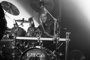 Ariën van Weesenbeek (drums, spoken word, growls; 2007-present) and Simone Simons (right - lead vocals; 2002-present) of Epica, live at The Ready Room in St. Louis, MO - photo credit: Nick Licata [2016]