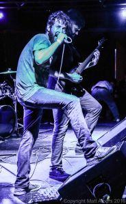 """Nekrogoblikon (left to right): Alex """"Goldberg"""" Alereza (guitar, backing vocals), Tim Lyakhovetskiy (vocals, keyboards) - photo copyright Matt Albers (2016)"""