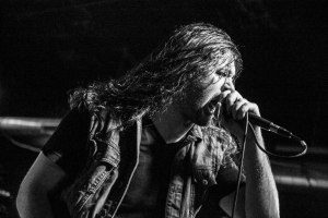 John Kevill (vocals, 2004 - present) of Warbringer, live at Fubar in St. Louis, MO - image credit: Nick Licata (2016)