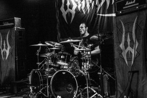 Carlos Cruz (drums, 2011 - 2014, 2015 - present) of Warbringer, live at Fubar in St. Louis, MO - image credit: Nick Licata (2016)