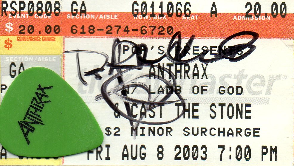 Randy Blythe's signature on the ticket + Scott Ian's guitar pick