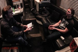 Damnation Magazine's Matt Albers interviewing Cryptopsy lead vocalist Matt McGachy (2007 - present) in the band's tour bus after their set at The Ready Room in St. Louis, MO on Tuesday, February 16 while on tour with Cannibal Corpse, Obituary, and Abysmal Dawn - image credit: Nick Licata (2016)