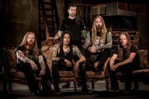 "DevilDriver (2016) lineup [left to right]: Neal Tiemann (guitar), Diego ""Ashes"" Ibarra (bass), Austin D'Amond (drums), Dez Fafara (vocals), Mike Spreitzer (guitar) - image credit: Ben Hoffmann"