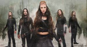 "The Agonist lineup (left to right): Pascal ""Paco"" Jobin [rhythm guitar], Danny Marino [lead guitar], Vicky Psarakis [lead vocals], Chris Kells [bass, backing vocals], Simon McKay [drums] - image courtesy of Napalm Records"