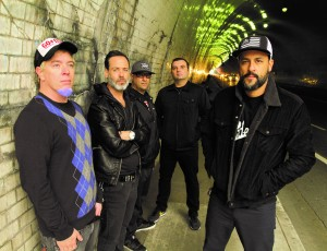 Strung Out lineup (left to right): Jake Kiley [guitar, 1989 - present], Chris Aiken [bass, 1999 - present], Jordan Burns [drums, 1993 - present], Rob Ramos [guitar/vocals, 1989 - present], Jason Cruz [vocals, 1989 - present] - image courtesy of Fat Wreck Chords